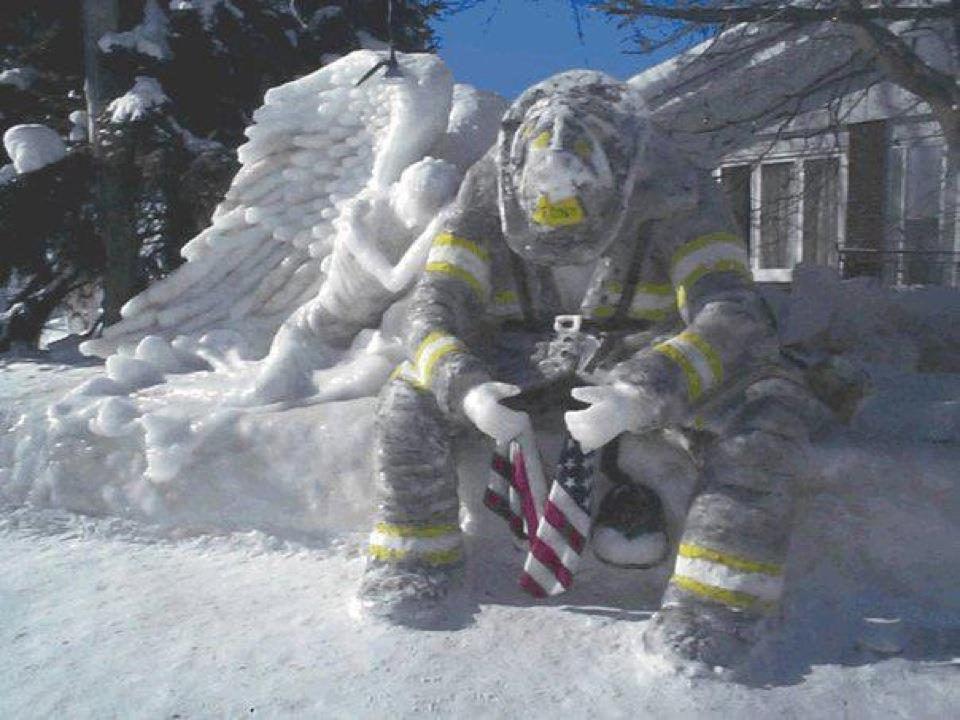 Firefighter with Snow Angel